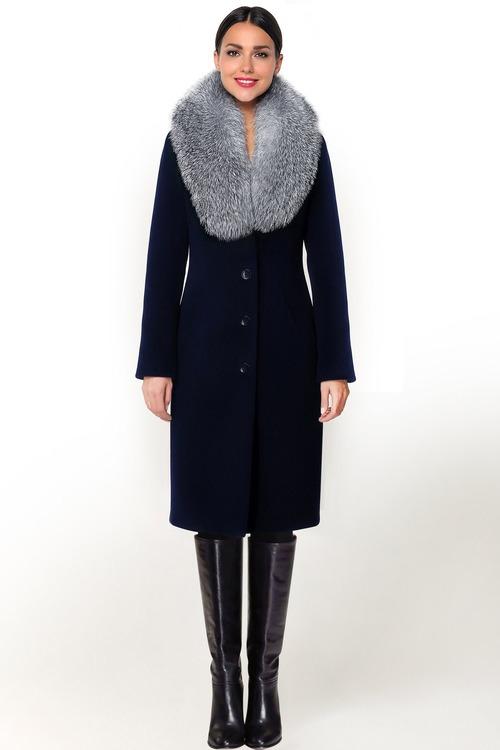 Приталенное зимнее пальто с мехом арт.301