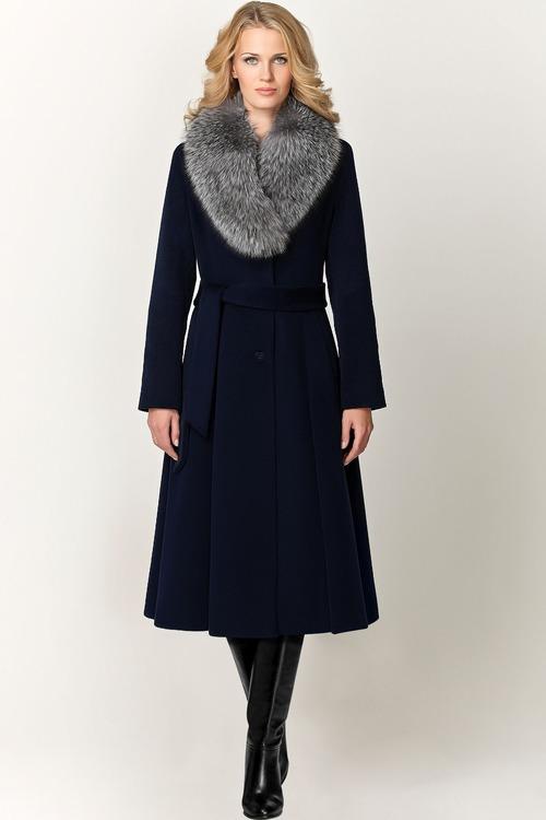 Длинное зимнее пальто с мехом чернобурки арт.502