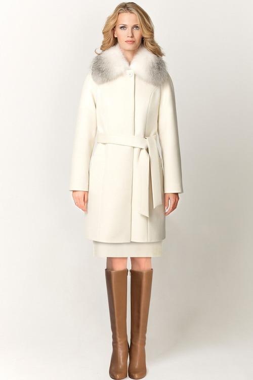 Утепленное пальто с меховым воротником арт.503