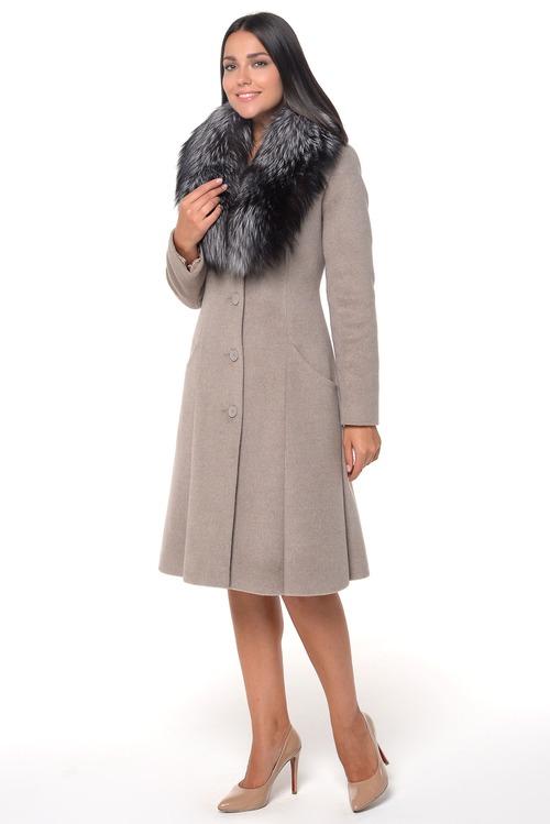 Зимнее пальто с отделкой меха чернобурки арт.704