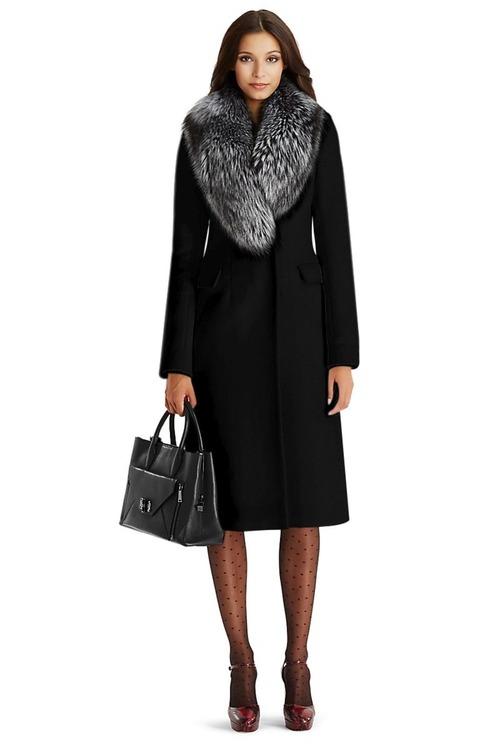 Чёрное зимнее пальто с мехом арт.304