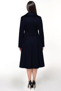 Женское синее расклешенное пальто арт.803
