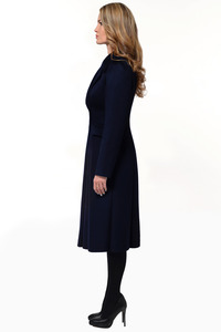 Тёмно-синее зимнее пальто - юбка годэ арт.804