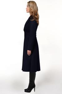 Тёмно-синее расклешенное пальто арт.803