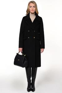 Чёрное прямое зимнее пальто арт.807