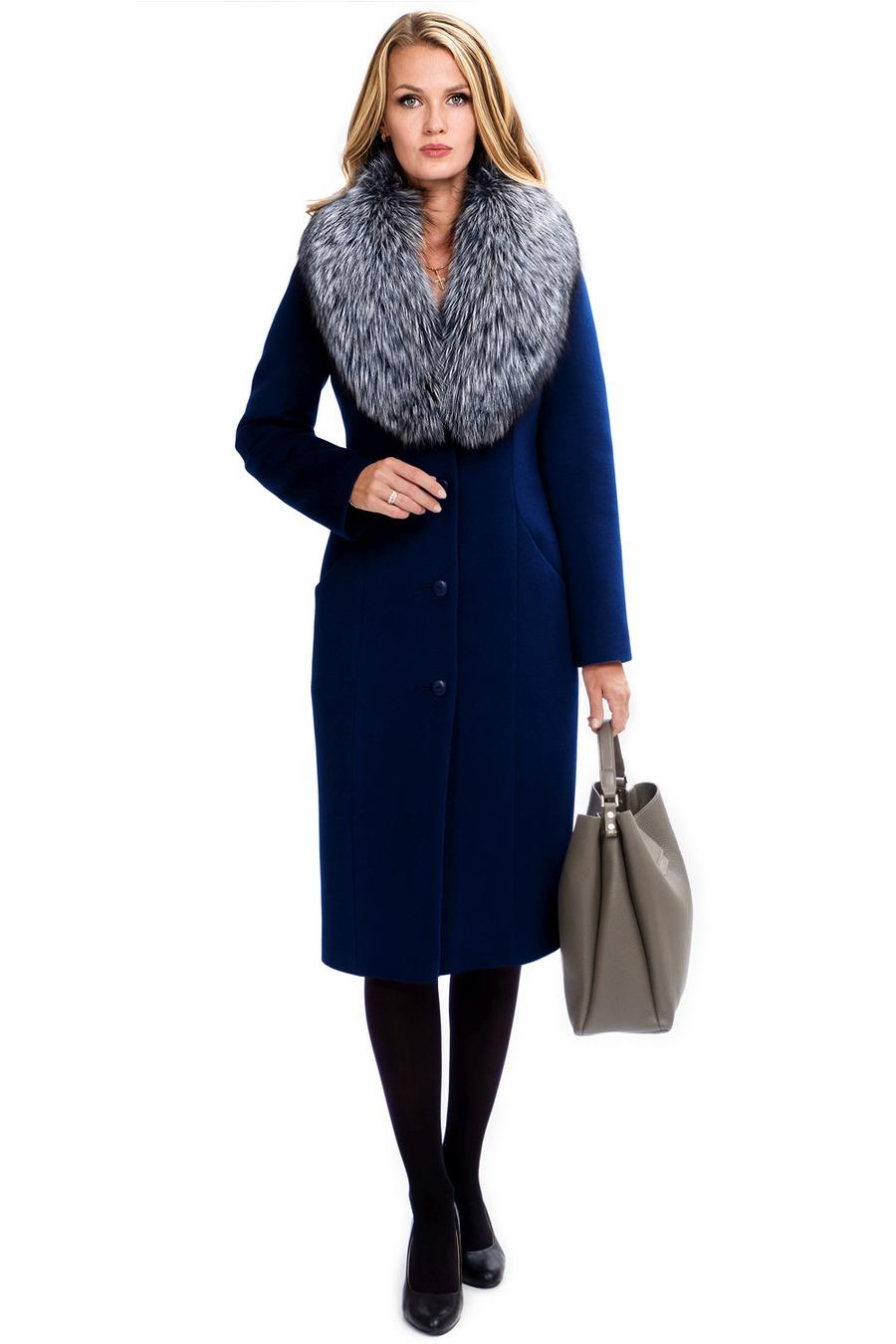 Зимнее приталенное пальто с мехом арт.301