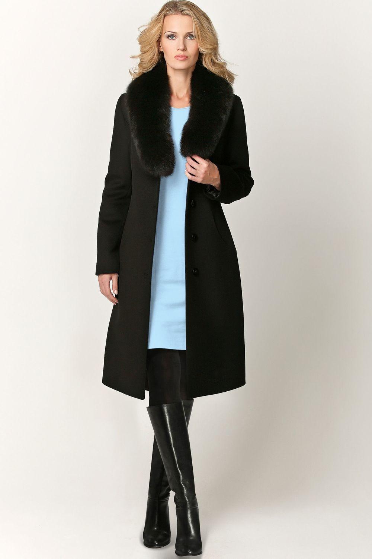Зимнее чёрное пальто с мехом арт.101