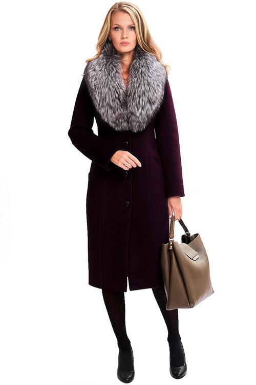 Зимнее пальто с мехом чернобурки арт.704