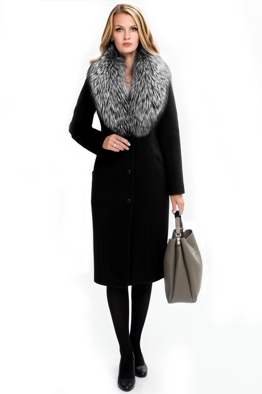 807a0a6407f Купить классическое зимнее черное пальто с чернобуркой в магазине в ...