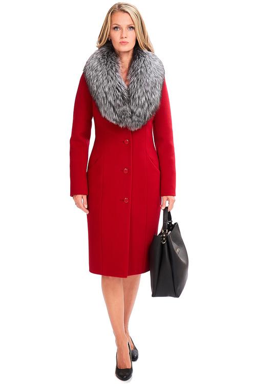 Красное пальто с меховым воротником арт.601