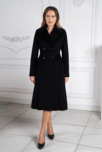 Чёрное зимнее пальто - юбка годэ арт.809