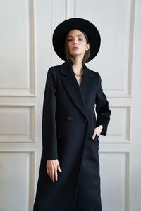 Женское синее прямое пальто  арт.304