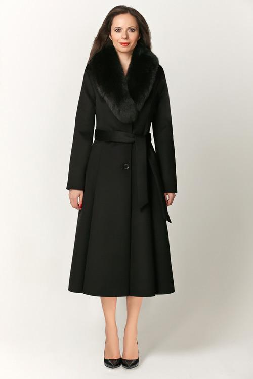 Зимнее расклешенное пальто с мехом арт.104