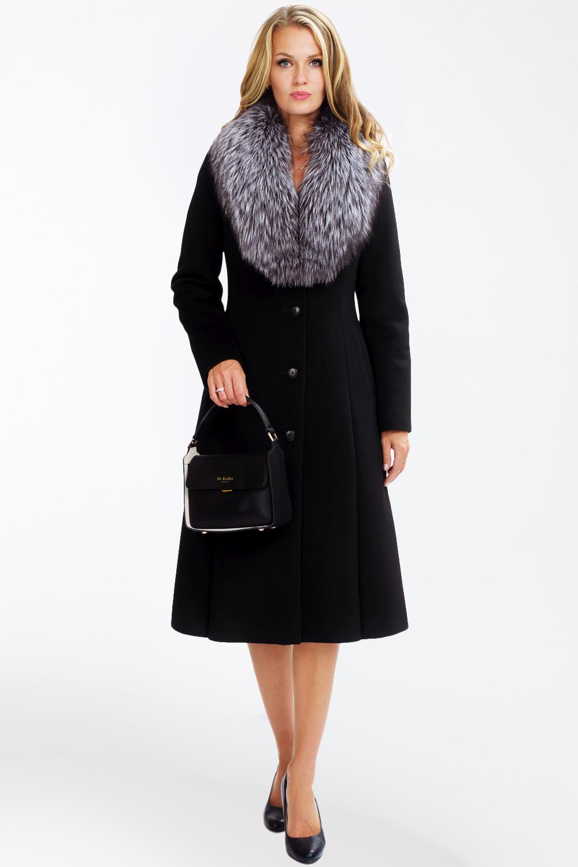 Расклешенное пальто c финской чернобуркой арт.201