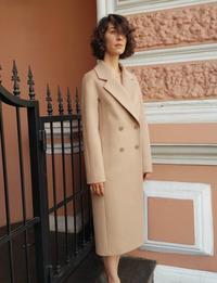Женское бежевое пальто халат арт.301