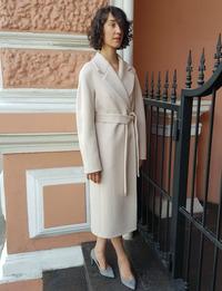 Женское белое пальто халат арт.505