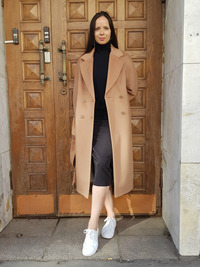 Женское шерстяное пальто кэмел арт.303