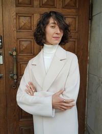 Женское белое пальто халат арт.201