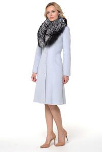 Расклешенное женское пальто с чернобуркой арт.204