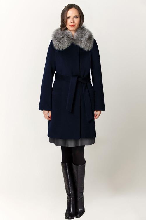 Зимнее пальто с отделкой натуральным мехом арт.302
