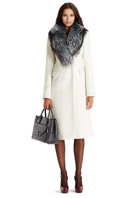 Пальто из шерсти и кашемира с мехом арт.304