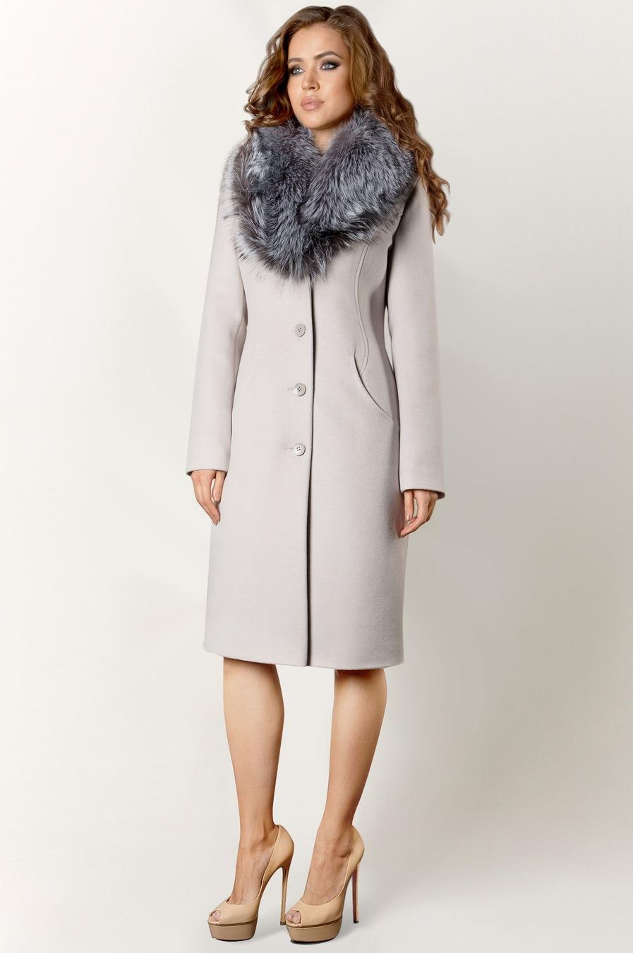 Зимнее женское пальто с мехом чернобурки арт.402