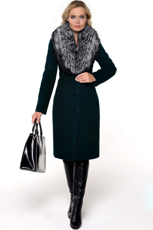Зимнее утепленное пальто с мехом лисы арт.404