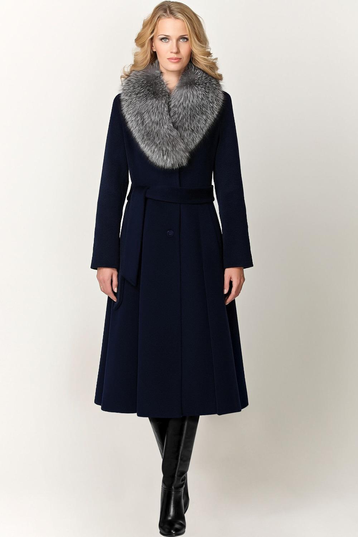 Зимнее длинное пальто с мехом арт.502