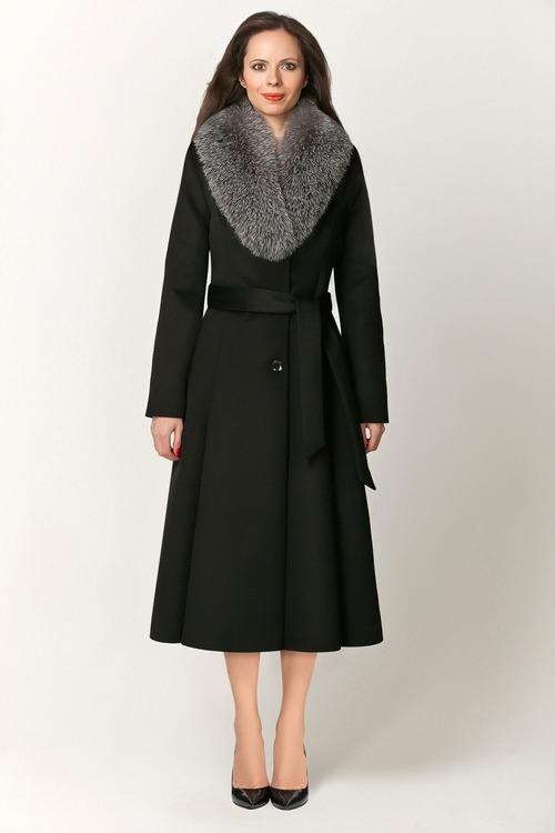 Женское пальто с мехом песца арт.504