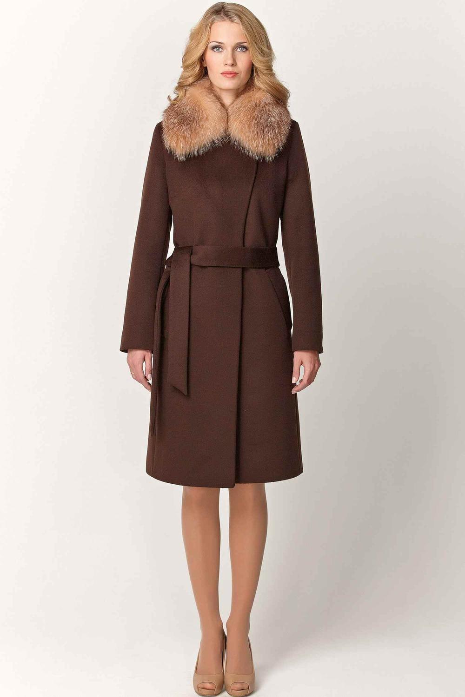 Зимнее пальто из шерсти с мехом арт.703