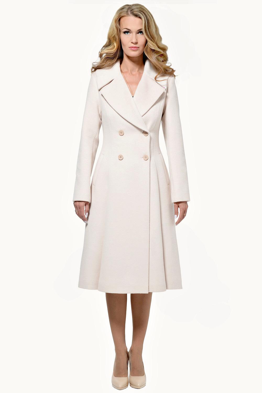 Шерстяное пальто белое, песочное, пудровое арт.104