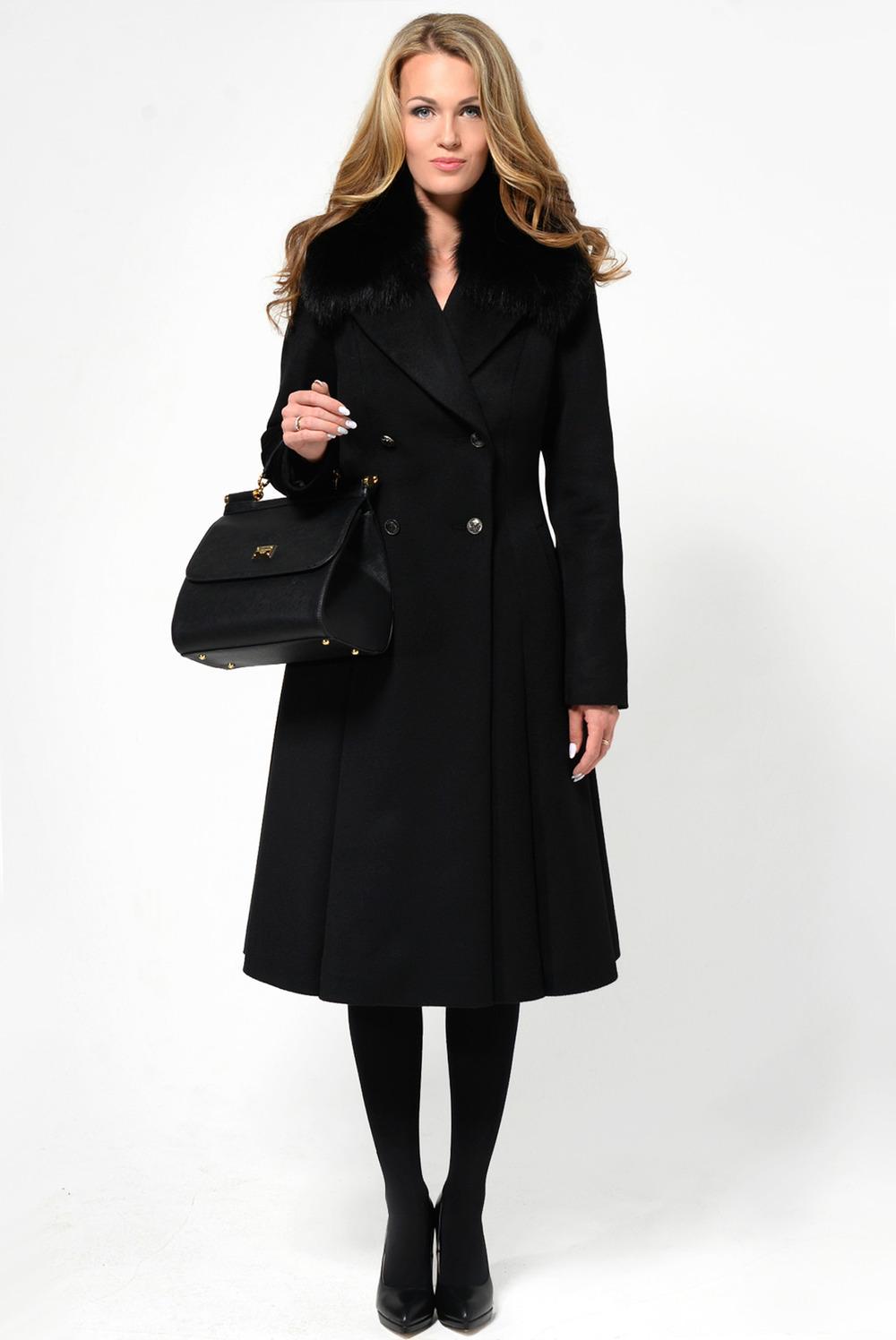 Зимнее черное расклешенное пальто с песцом рт.902