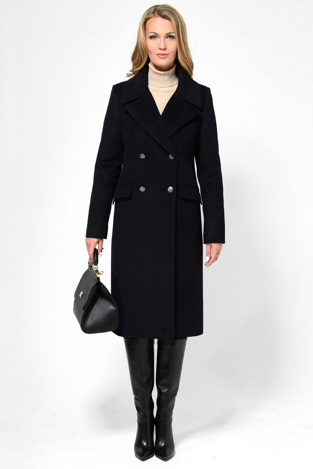 Зимнее синее прямое пальто арт.808