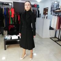 Чёрное зимнее пальто - юбка годэ арт. 801