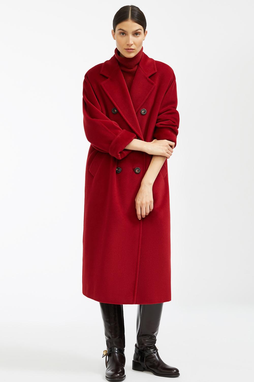 Бордовое зимнее пальто халат арт.402