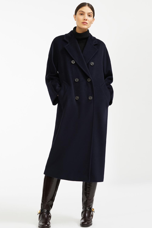 Синее зимнее пальто халат арт.402