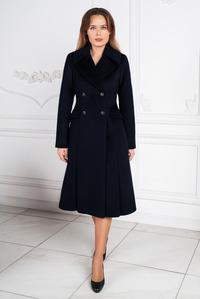 Тёмно-синее зимнее пальто - юбка годэ арт.806