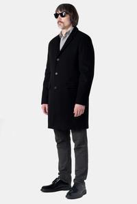 Мужское чёрное зимнее пальто арт.104