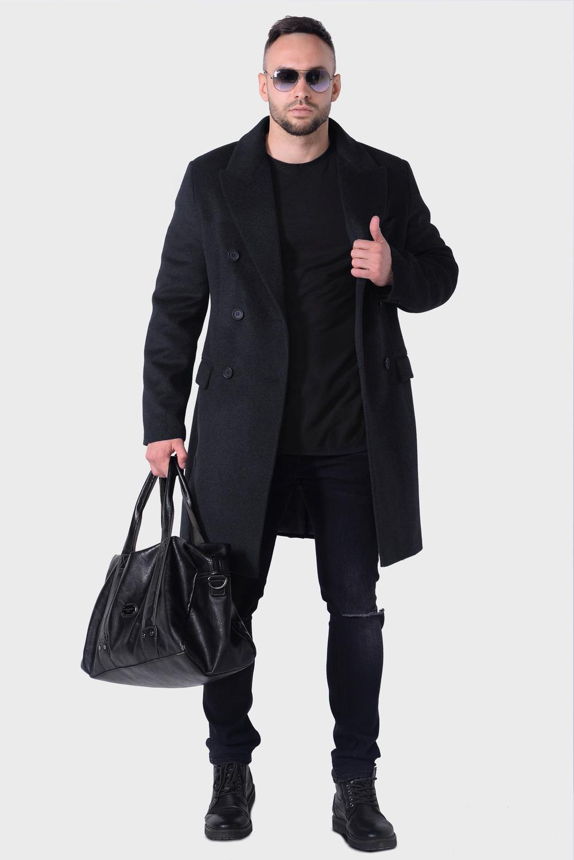 Мужское серое зимнее пальто арт.501